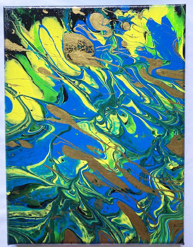 Colorful acrylic pours by Bethany youth